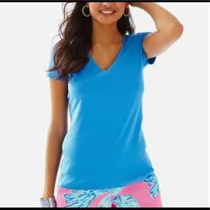 Lilly Pulitzer Blue Pima Cotton V Neck Tee Shirt S